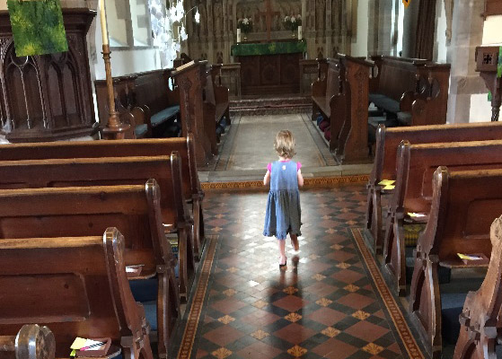 Willow cleaning St James church in Lugwardine