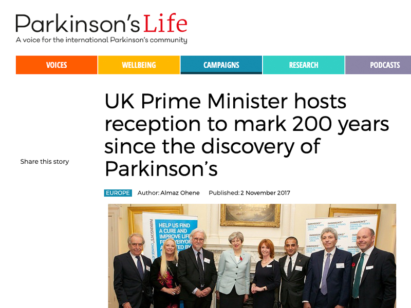 'UK Prime Minister hosts reception to mark 200 years since the discovery of Parkinson's' article