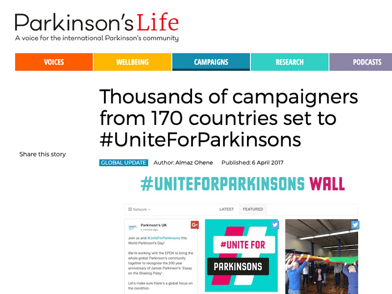 'Thousands of campaigners from 170 countries set to #UniteForParkinsons' article