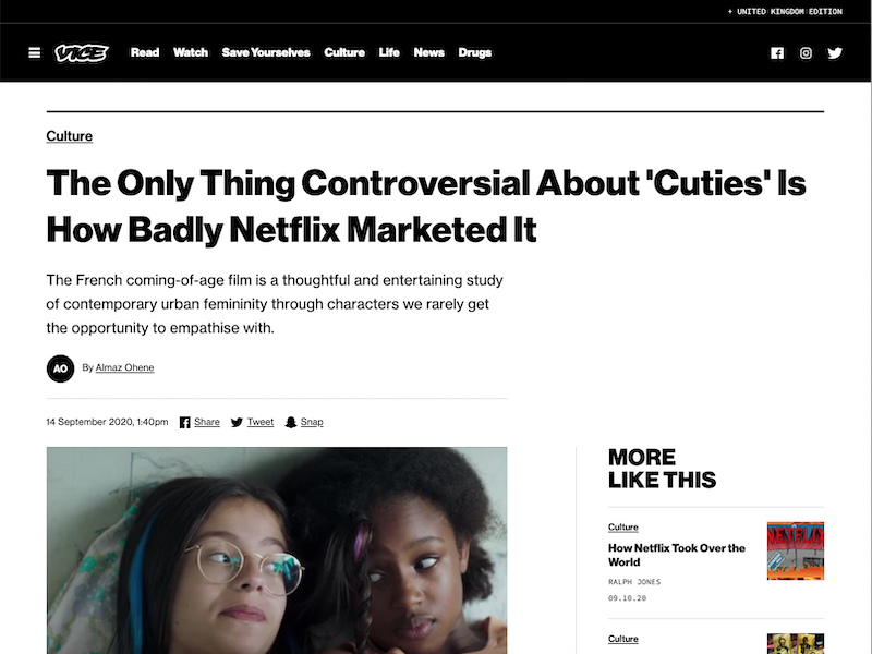 'The Only Thing Controversial About 'Cuties' Is How Badly Netflix Marketed It' article