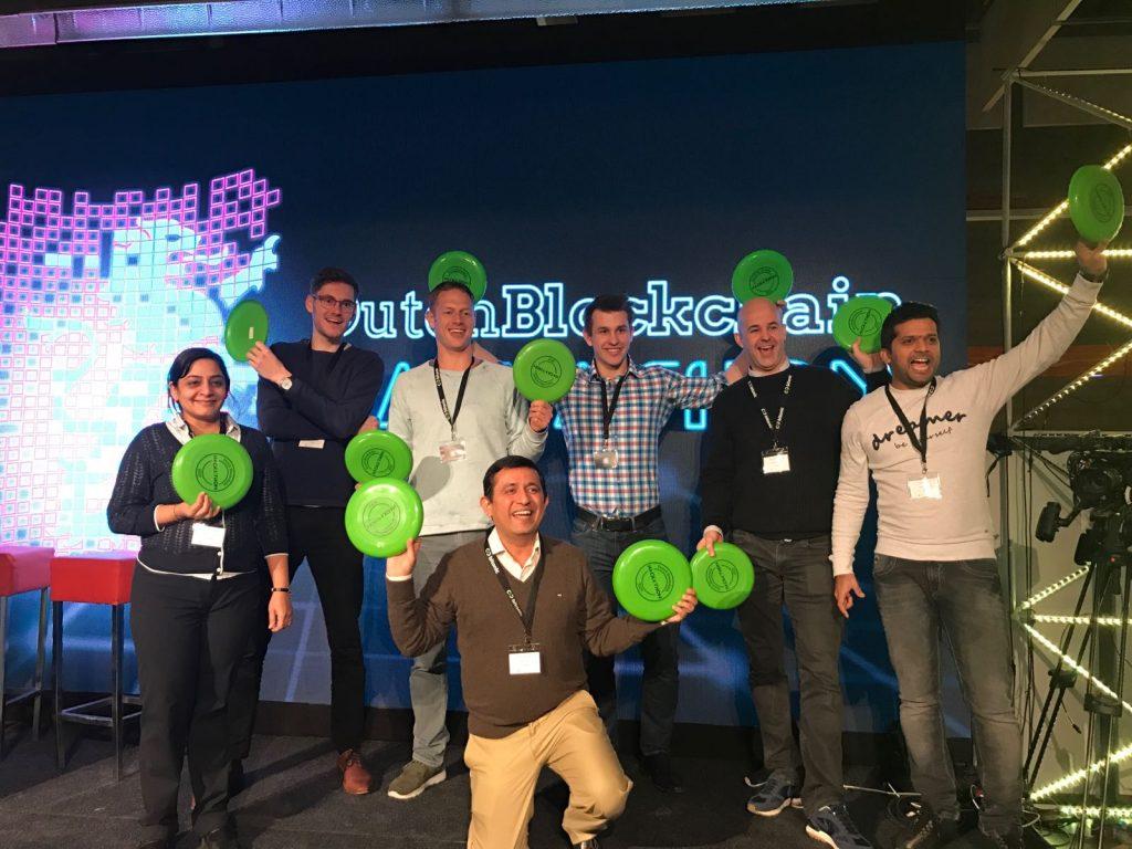 Foto from celebrating wining the Blockchain Hackathon