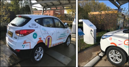 Hydrogen car used in the live energy blockchain demonstration