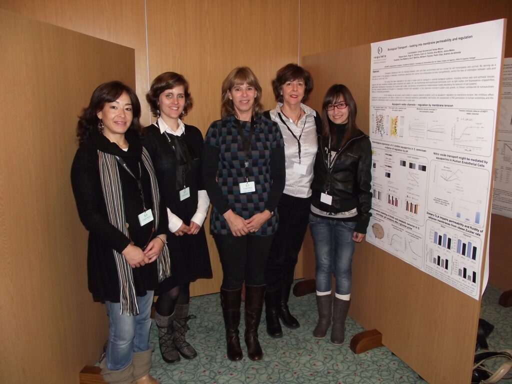 The biological Transport group, all female, in 2011, posing next to a poster