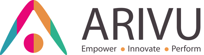 Arivu logo and icon with 'Empower, Innovate, Perform' text