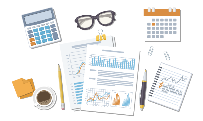 Icon illustration of calculator, eye glasses, calendar, charts, notepad, pen, pencil and coffee cup
