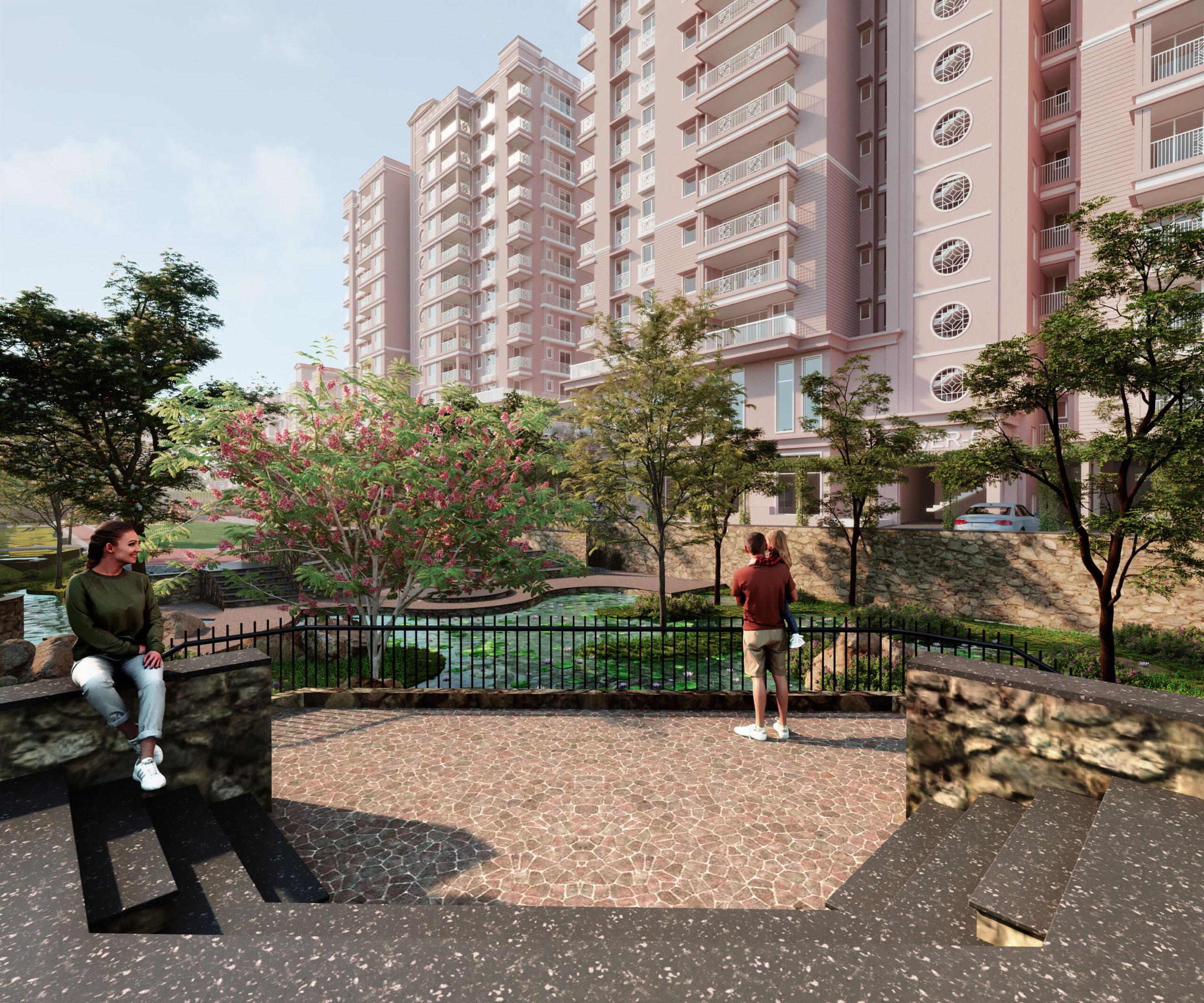 exterior group housing 3d rendering