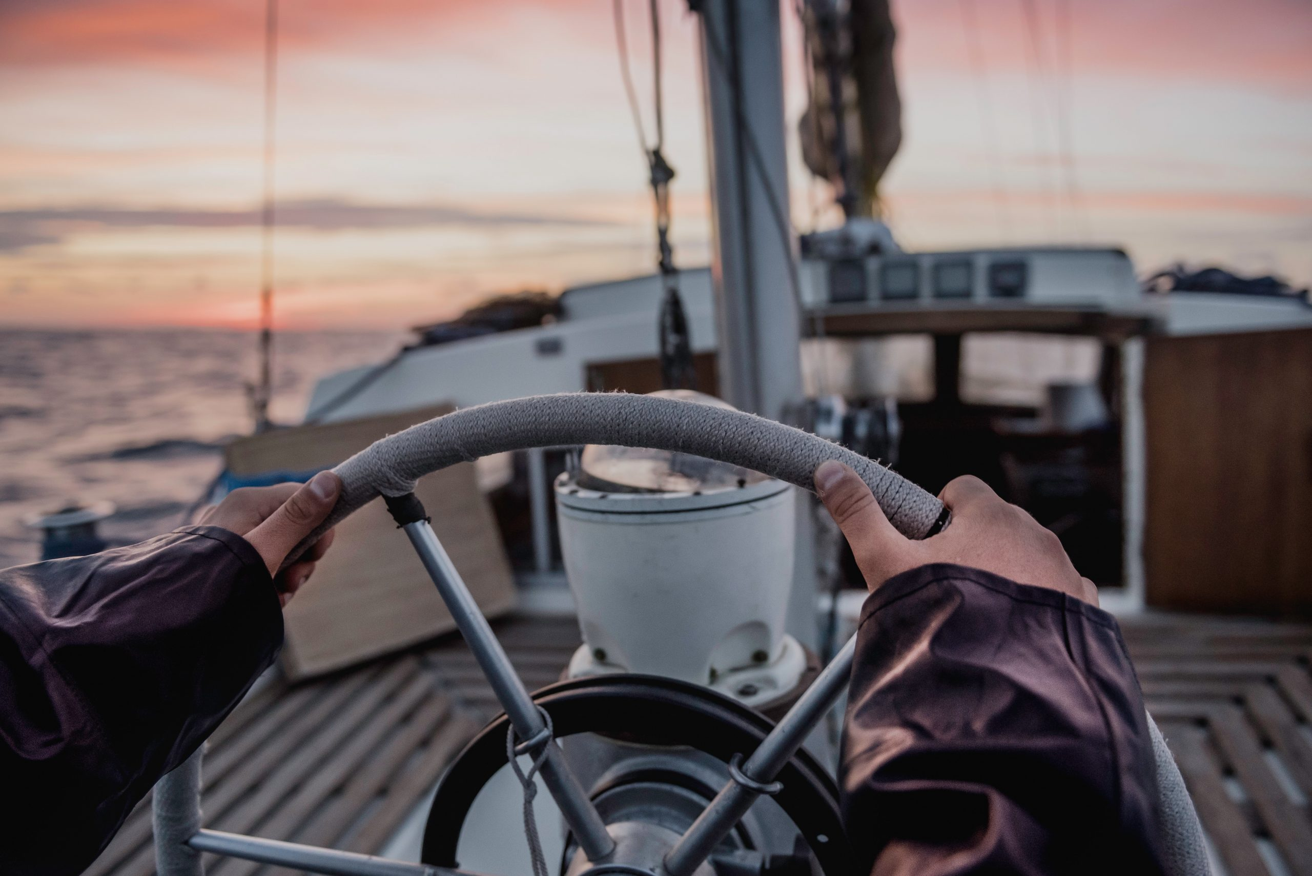 The steering wheel of a boat