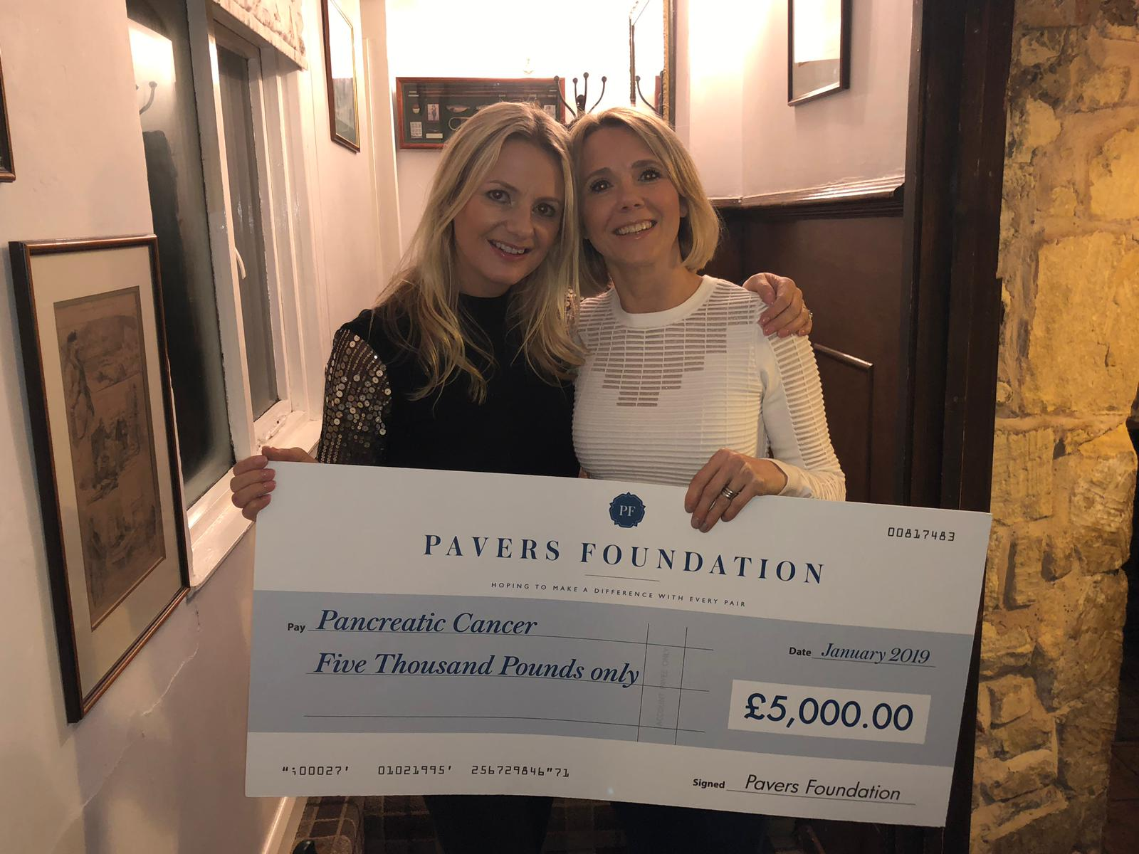 Pancreatic Cancer UK Receives £5,000 from the Pavers Foundation