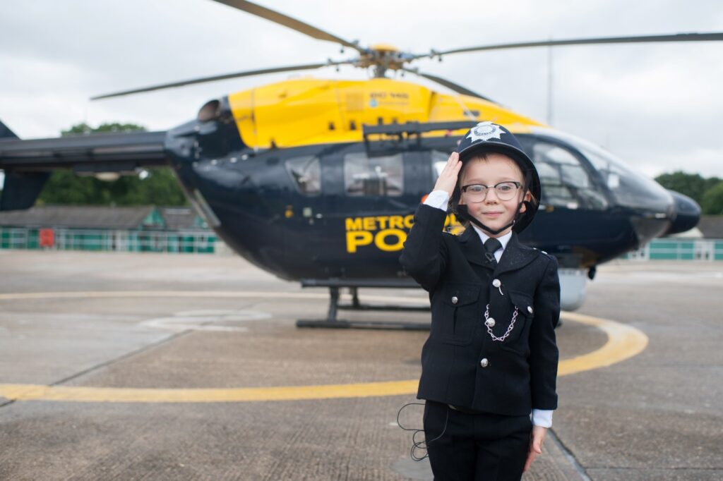 Charlie with the Police helicopter.