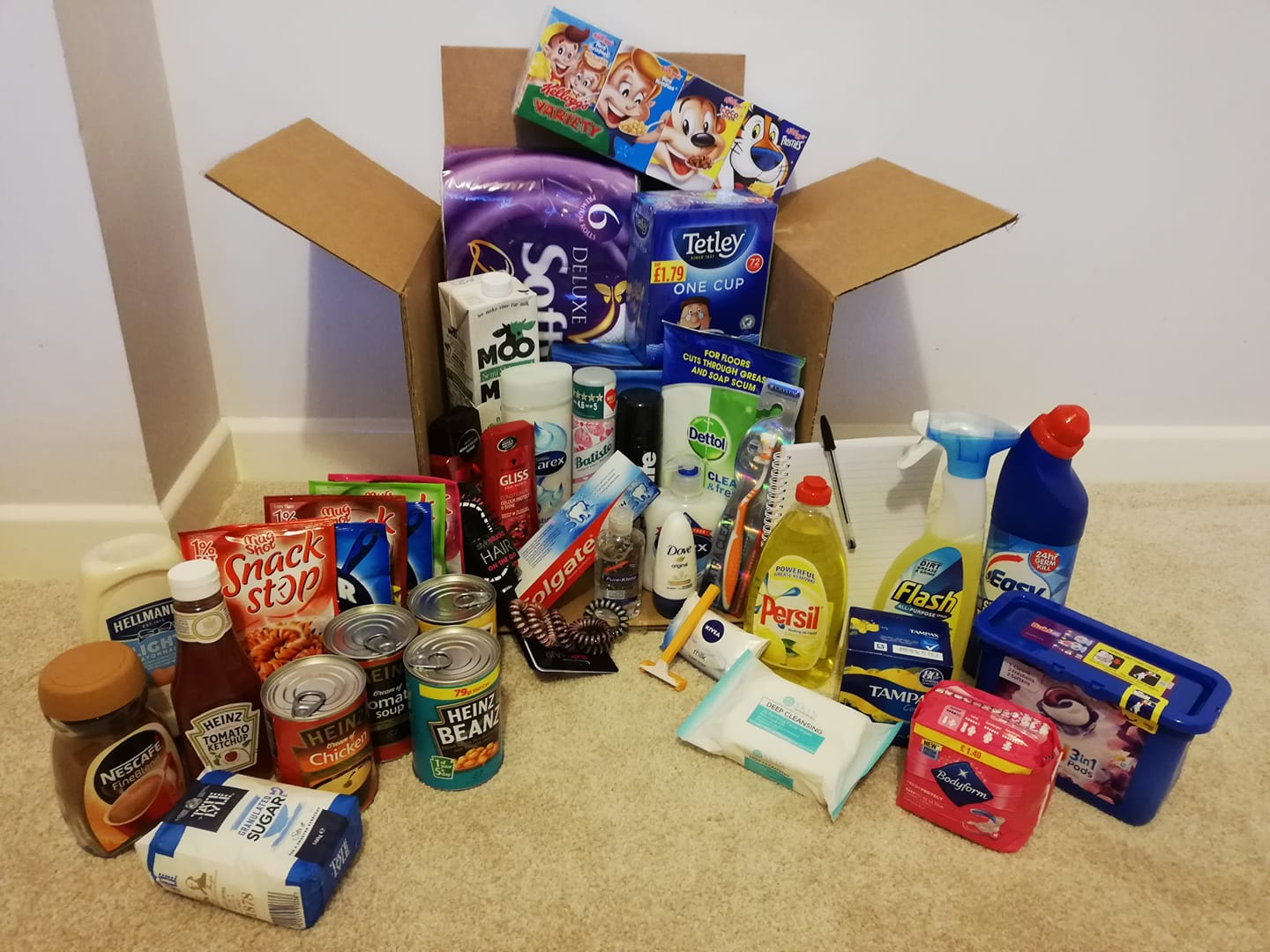 A supply box provided by the charity, Little Willows Wish