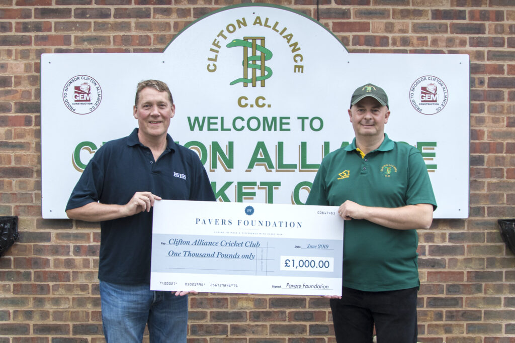 Mark Granger, Director of Operations at Pavers handing the cheque over to David Heartshorne, Club Chairman at Clifton Alliance Cricket Club