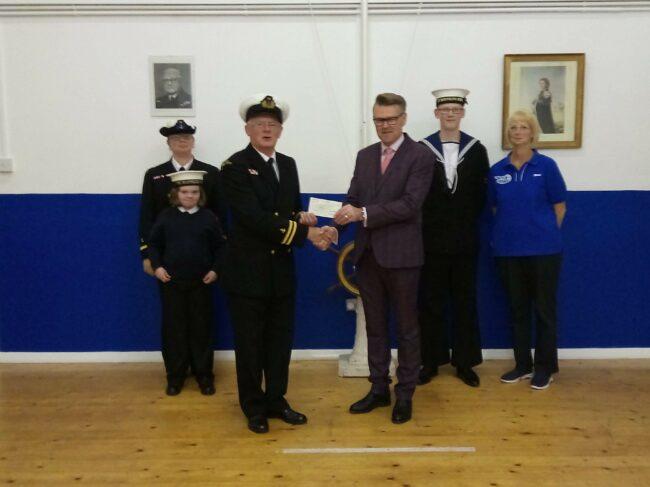 From left, Mrs E Blake 2/o Officer, Cadet Matha, Mr J Parsons 1/o Officer C/O , Mr Robert Abbott Store Manager at Pavers Brighton, Cadet Elims and Mrs S Parsons RI.