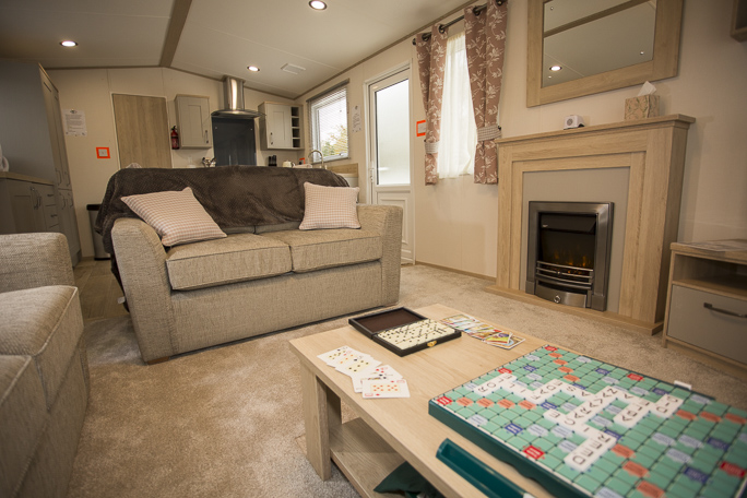 The inside of a fully adapted caravan.