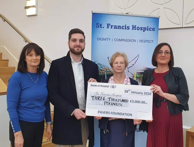 Cheque handover from the Pavers Foundation to St. Francis Hospice.