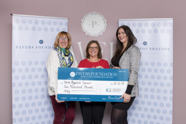 The Pavers Foundation, handing the cheque over to York Against Cancer.