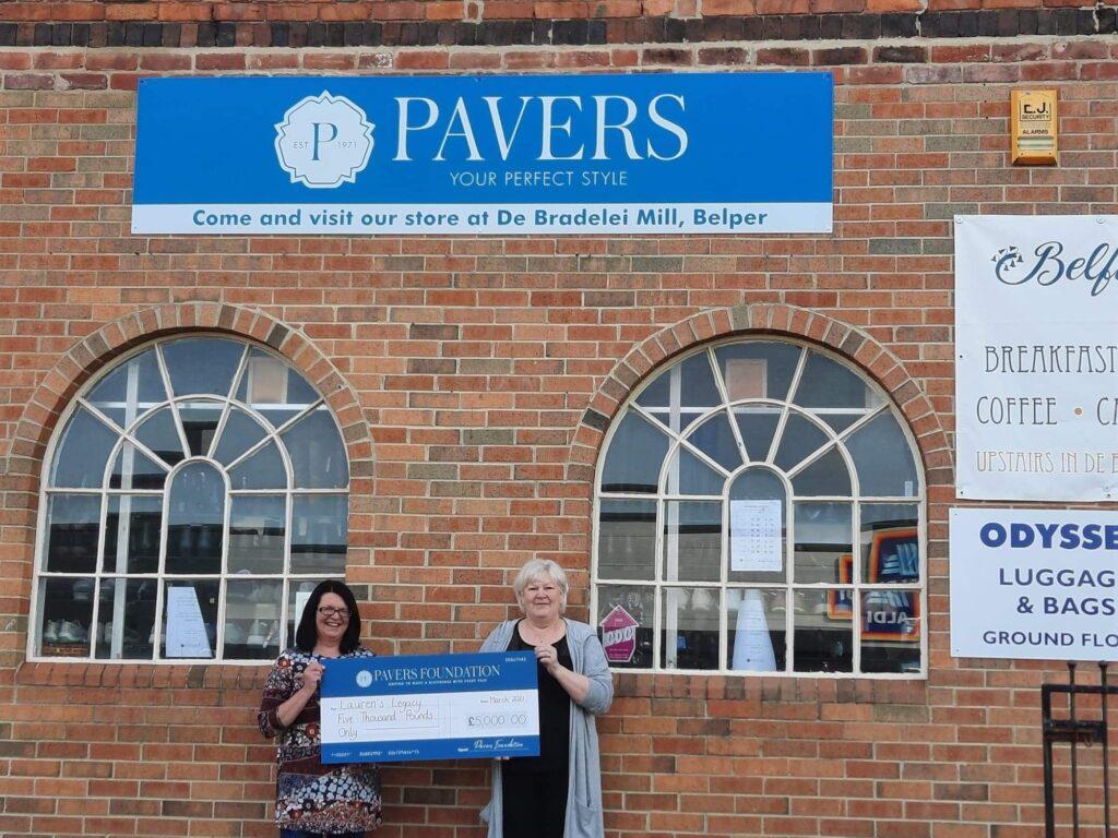 Left to right: Elaine Eliot, Lauren's mother with Janine Wheeldon - Pavers Customer Advisor, Belper