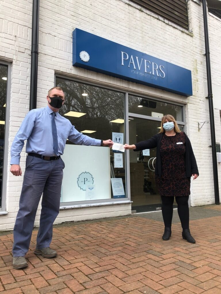 (Left to right) Rob Gibson, Training and Development Manager at Alabaré and Sarah Webb, Store Manager, Pavers Wilton