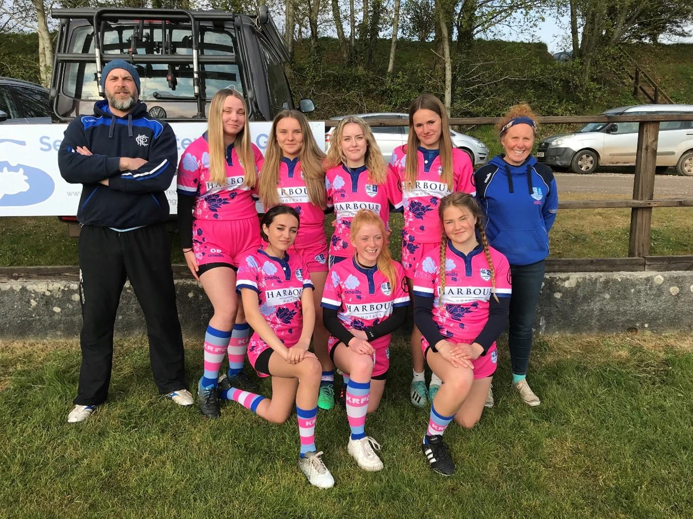 Left: Ben Sherring, Coach, U15 Kingsbridge Girls Rugby Squad & Sarah Cadle, Team Manager