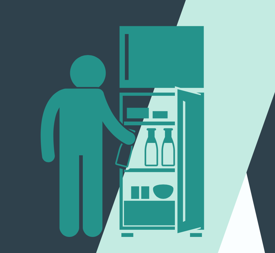 illustration of a person opening the fridge door to get a snack