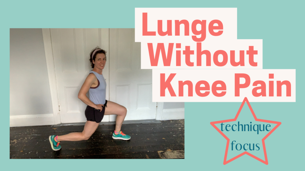 YouTube Thumbnail image showing Bianca Sainty doing a lunge and smiling with the title Lunge Without Knee Pain