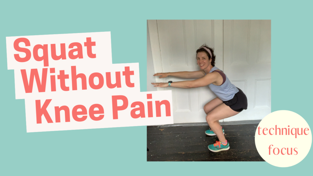 YouTube thumbnail image showing Bianca Sainty smiling and demonstrating the technique for performing a squat without knee pain