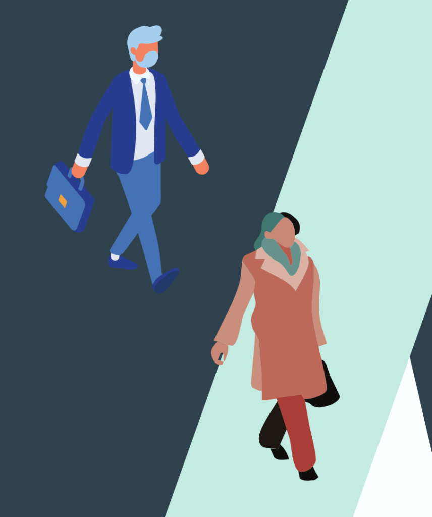 Lower stress hybrid working. Graphic of a man and a woman dressed smartly and walking to work