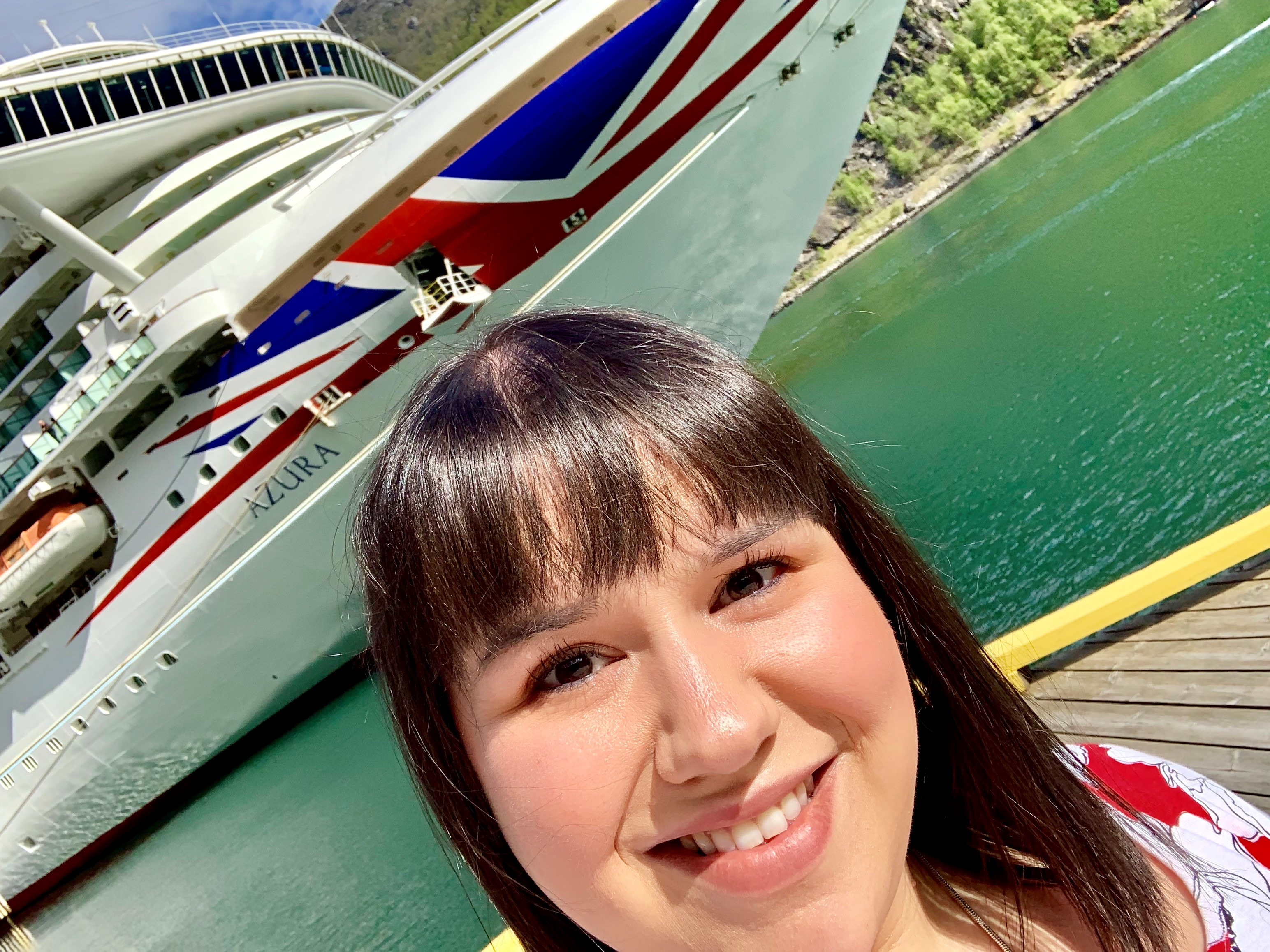 Sam in front of a Cruise Ship