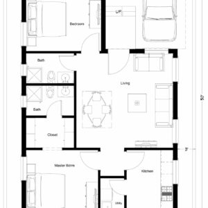 30X50-2-bedroom-north-facing-2bhk-900sft-small-house-design-as-per-vastu-floor-plan-houzone