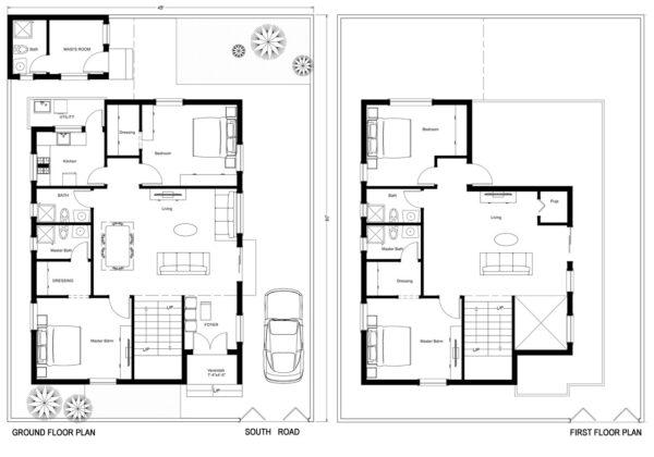 45X60-4-bedroom-south-facing-4bhk-2500sft-house-design-as-per-vastu-floor-plan-houzone
