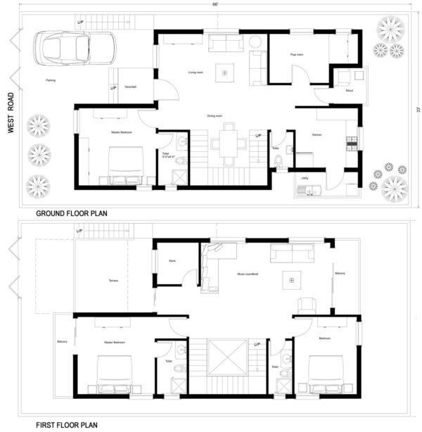 66X33-3-bedroom-west-facing-3bhk-2500sft-duplex-house-design-as-per-vastu-floor-plan-houzone