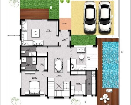 3 bedroom pool house_North Facing_Luxury_design