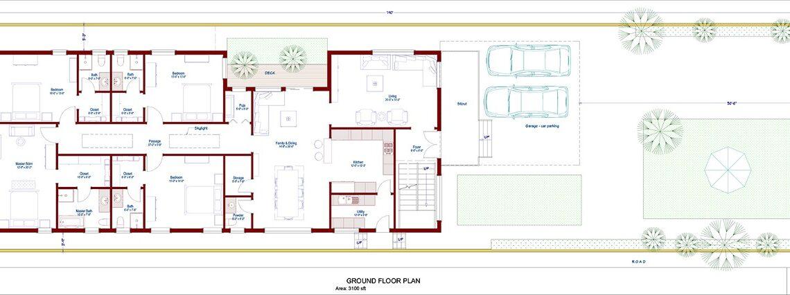 4 bedroom single floor house- east- Facing-design