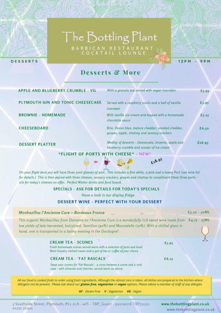 Winter dessert menu for The Bottling Plant