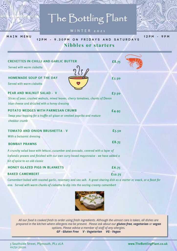 Winter Menu for The Bottling Plant - second page