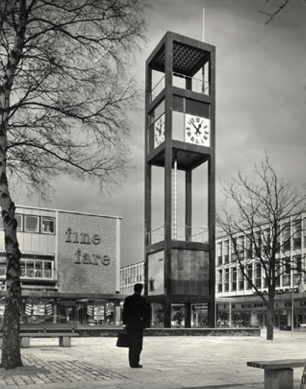 The iconic clocktower in Stevenage's centre in it's heyday