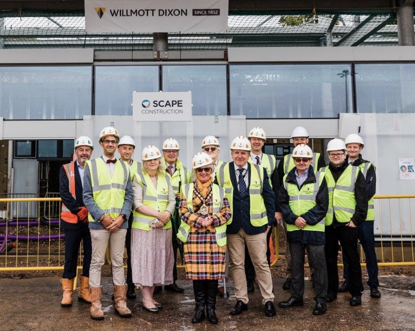 Group outside topping out ceremony