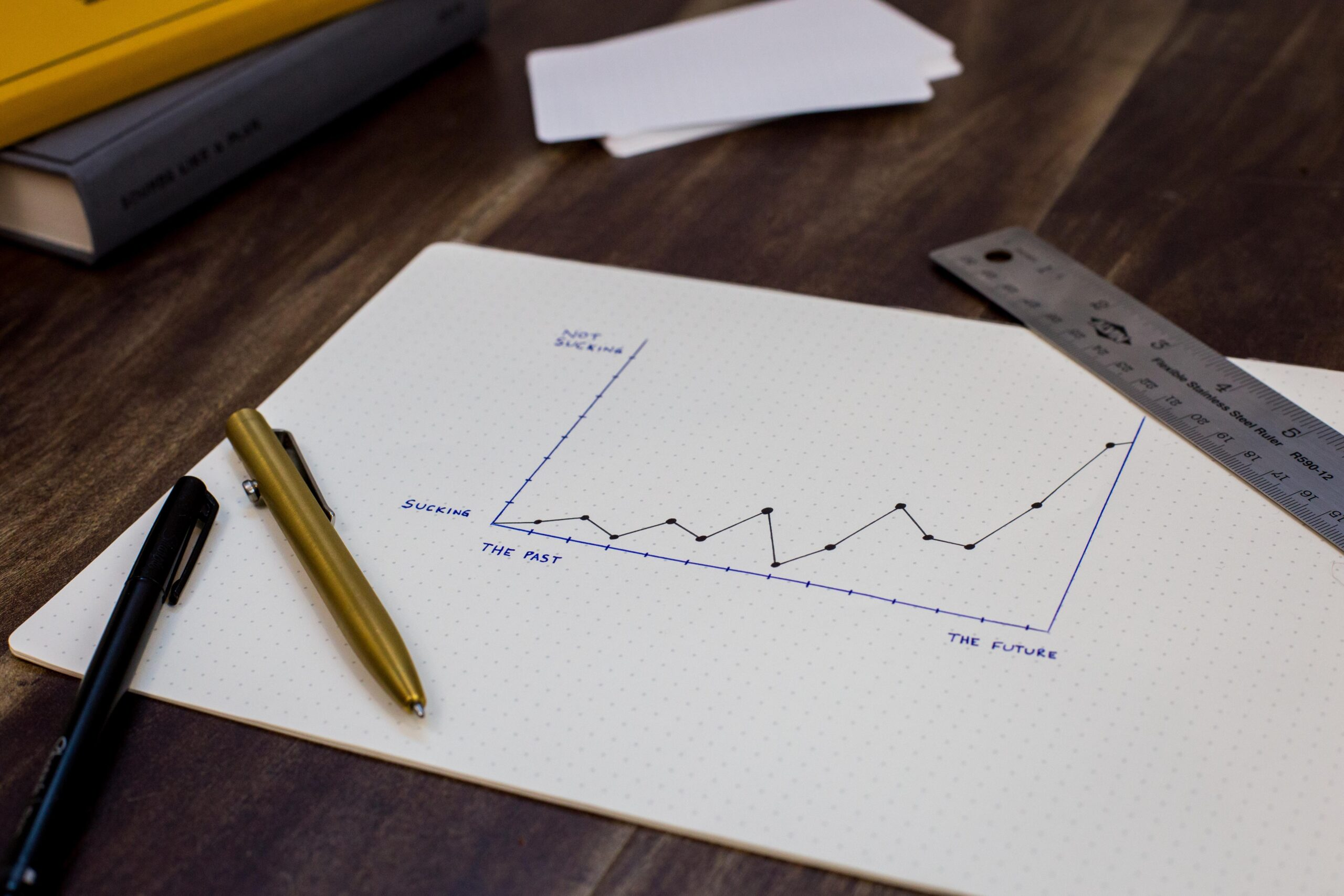stock market graph on table with pen on top