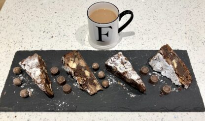 Photo showing 4 slices of brownie