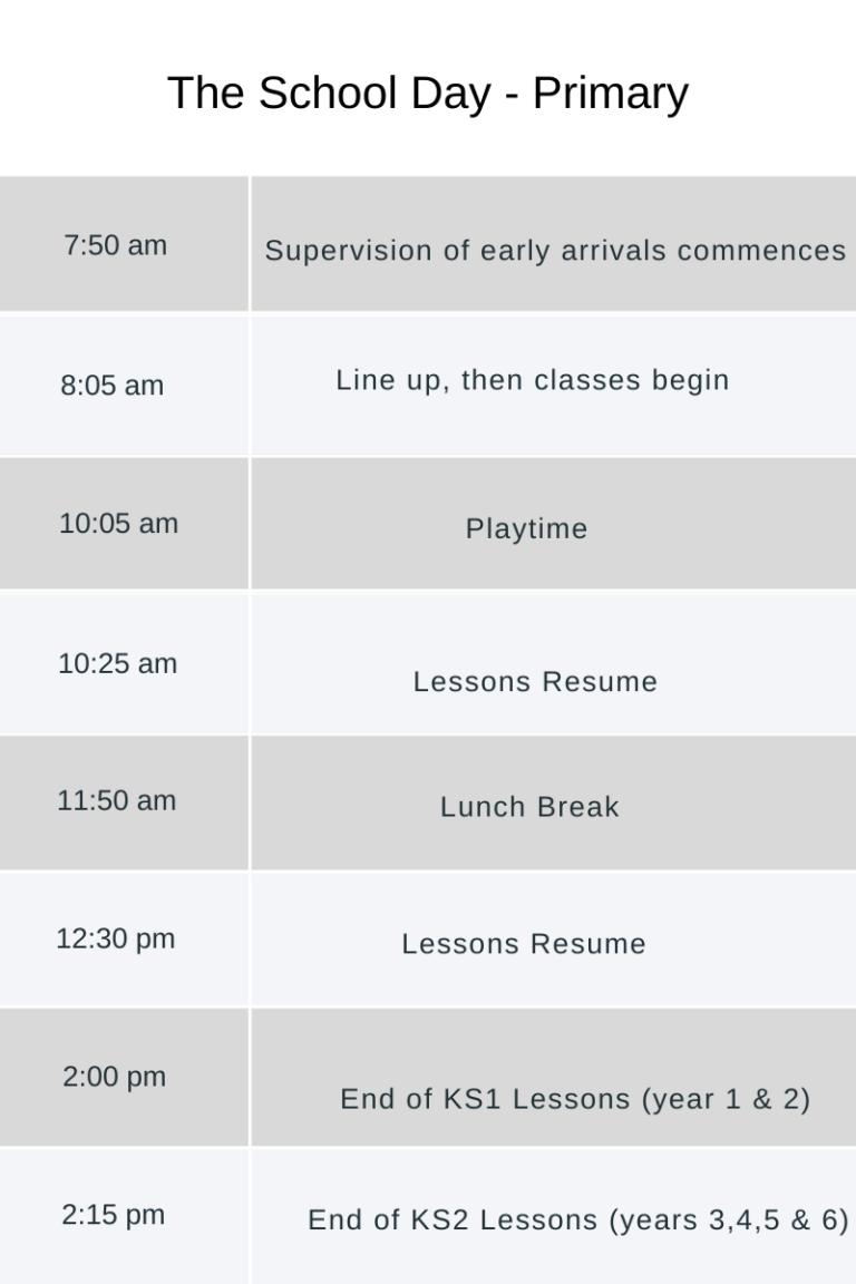 VISP Primary Timetable