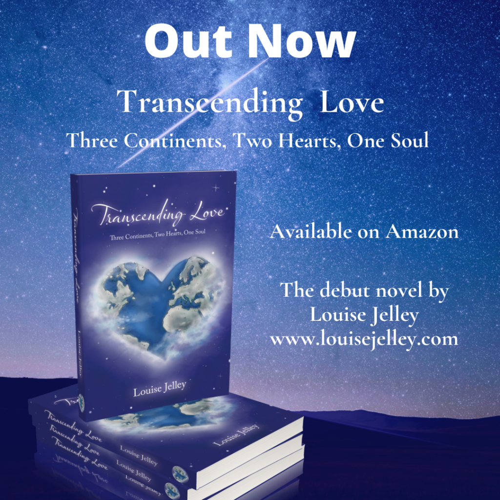 Advertisement showing a 3D image of a book Transcending Love with the words Out Now available at Amazon