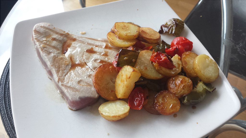 Tuna Steak with Soy Tomatoes