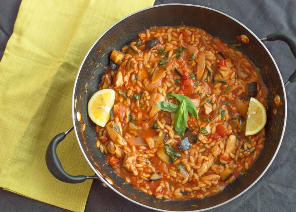 chicken & aubergine orzo one-pot