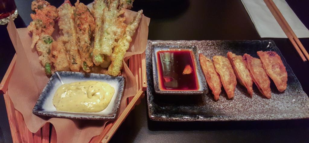 Mr M's Tempura Vegetables & Crispy Duck Gyoza with Hoisin
