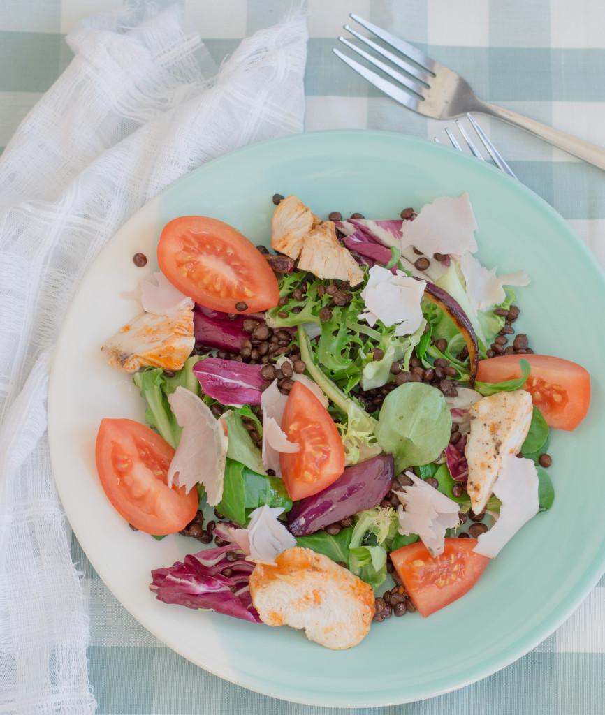 warm lentil, chicken & porchetta salad