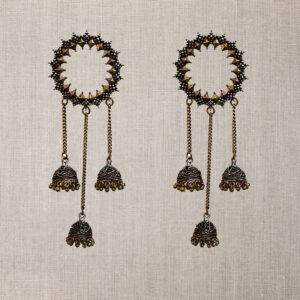 Dual plated oxidised silver earrings
