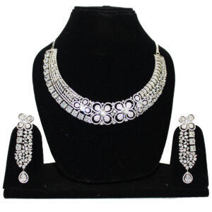 CZ Rhodium Plated Necklace 76043