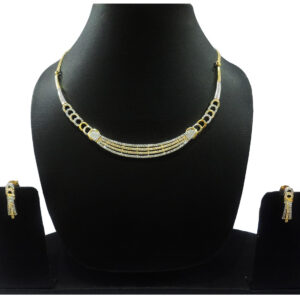 CZ Gold & Silver Plated Necklace 401008