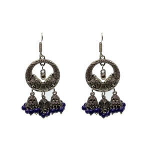 Oxidised Silver Jhumki Earrings ER-7009-32 blue