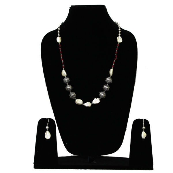 Designer Oxidised Silver Necklace 100502