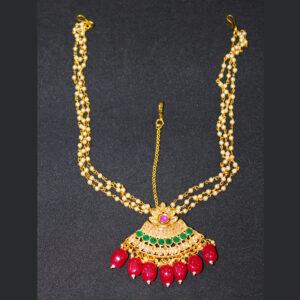 Ruby Gold Plated Maang Tikka HA-117-90
